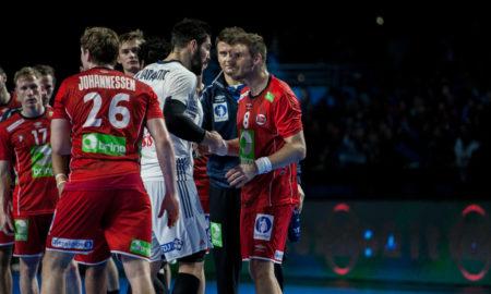 Bjarte Myrhol og Nikola Karabatic hadde en alvorsprat etter kampen | Foto: Bjørn Kenneth Muggerud