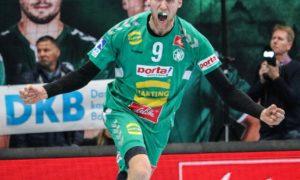 Christoffer Rambo, GWD Minden, jubler etter en av sine mange scoringer i kampen mot Rhein Neckar Löwen | Foto: Beate Oma Dahle